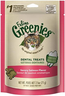 Feline Greenies Dental Treats Savory Salmon Flavor Cat Treats, 2.5-oz bag