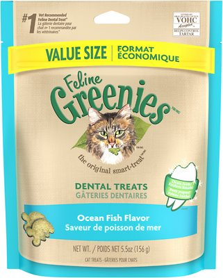 Feline Greenies Dental Treats Ocean Fish Flavor Cat Treats, 5.5-oz bag
