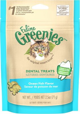 Feline Greenies Dental Treats Ocean Fish Flavor Cat Treats, 2.5-oz bag