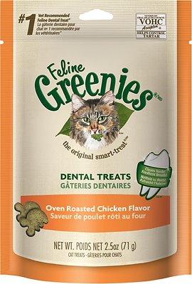 Feline Greenies Dental Treats Oven Roasted Chicken Flavor Cat Treats, 2.5-oz bag