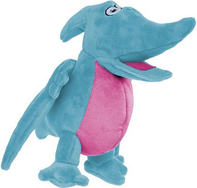 GoDog Dinos Chew Guard Pterodactyl Dog Toy, Blue, Small