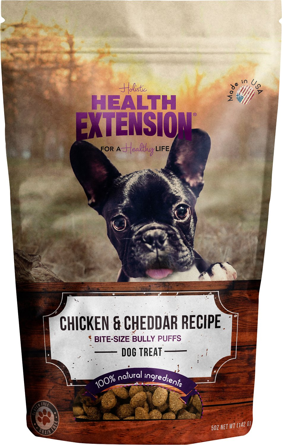 Health Extension Bully Puffs Chicken & Cheddar Cheese Grain-Free Dog Treats, 5-oz bag