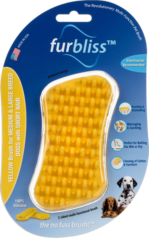 Furbliss Short Hair Dog Brush, Medium/Large, Yellow