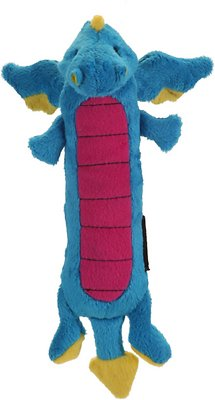 GoDog Dragons Skinny Chew Guard Dog Toy, Blue, Small