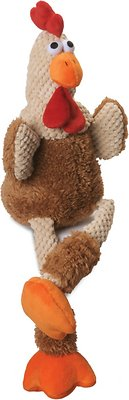 GoDog Checkers Chew Guard Rooster Dog Toy, Brown, Large