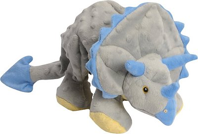 GoDog Dinos Chew Guard Frills Triceratops Dog Toy, Gray, Small