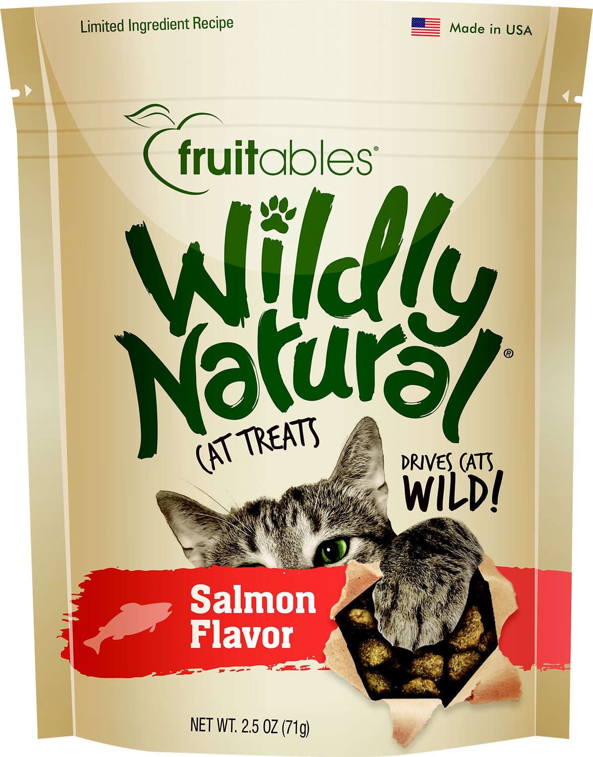 Fruitables Wildly Natural Salmon Flavor Cat Treats, 2.5-oz bag Weights: 2.56 ounces