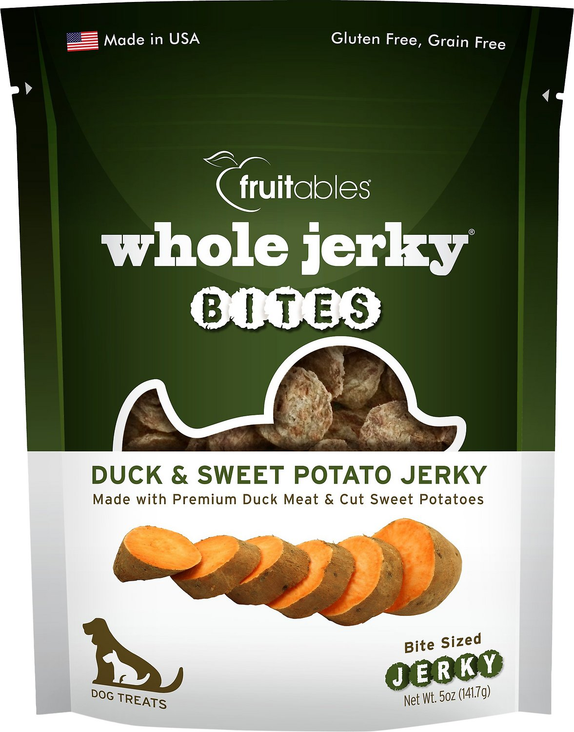 Fruitables Whole Jerky Bites Duck & Sweet Potato Dog Treats, 5-oz bag