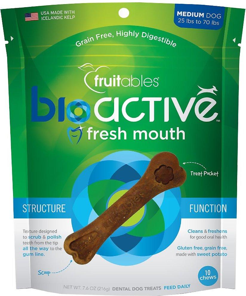 Fruitables BioActive Fresh Mouth Medium Dental Chews Dog Treats, 10-count