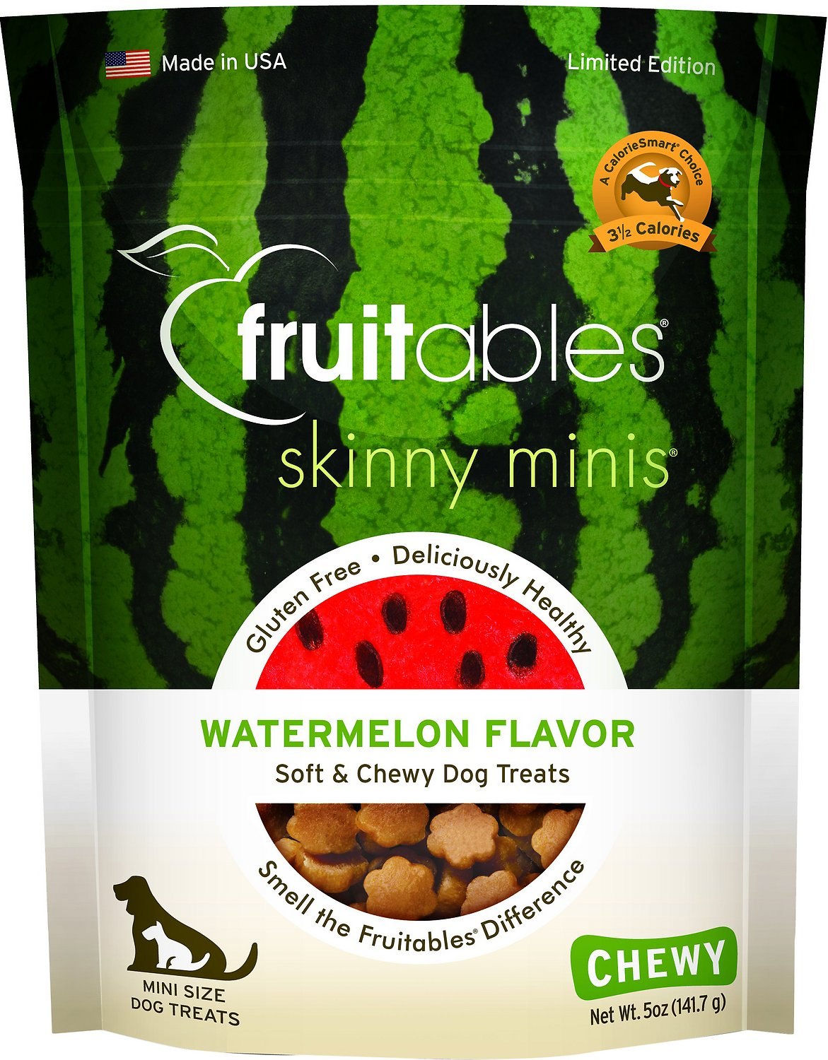 Fruitables Skinny Minis Watermelon Flavor Soft & Chewy Dog Treats, 5-oz bag