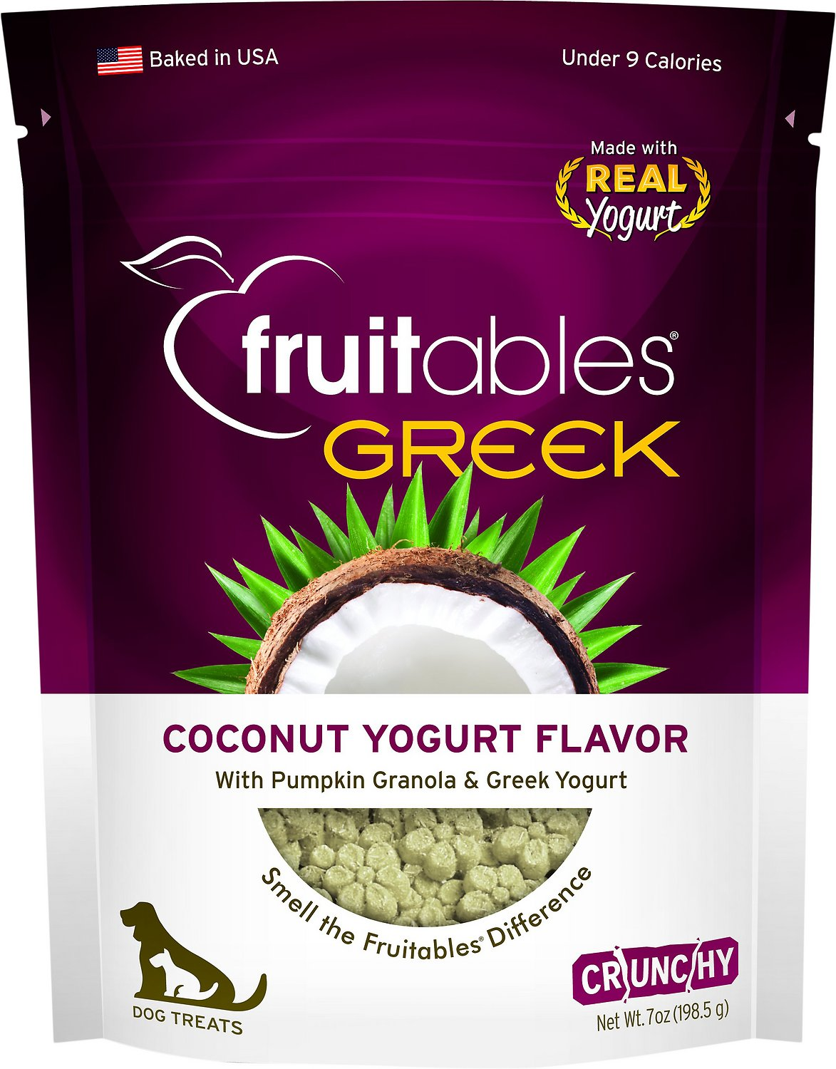 Fruitables Greek Coconut Yogurt Flavor Crunchy Dog Treats, 7-oz bag