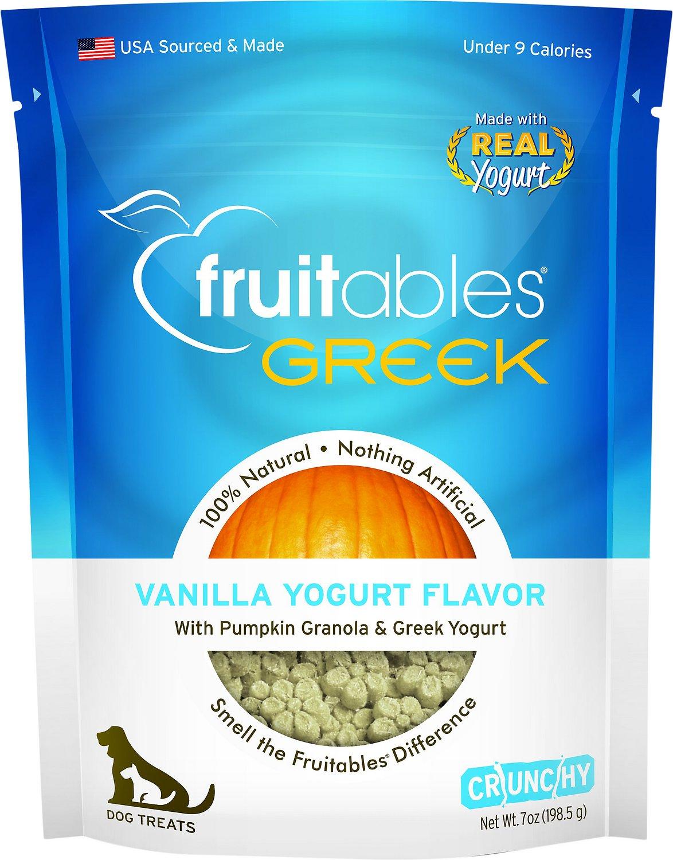 Fruitables Greek Vanilla Yogurt Flavor Crunchy Dog Treats, 7-oz bag