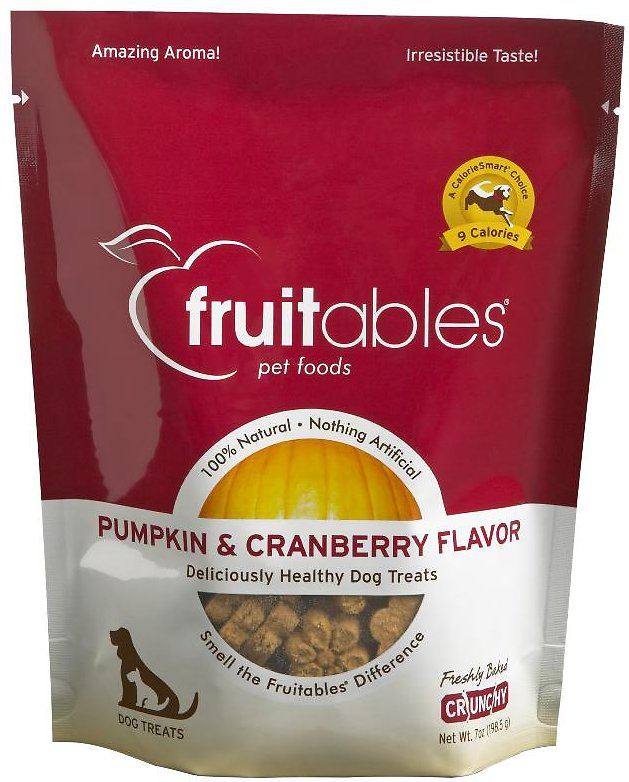 Fruitables Pumpkin & Cranberry Flavor Crunchy Dog Treats, 7-oz bag