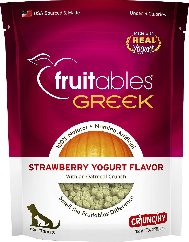 Fruitables Greek Strawberry Yogurt Flavor Crunchy Dog Treats, 7-oz bag