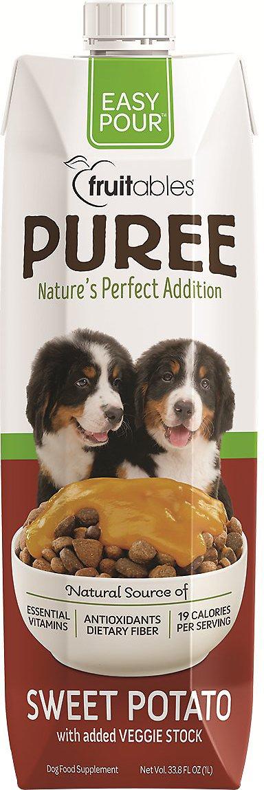 Fruitables Easy Pour Sweet Potato Puree Dog Supplement, 33.8-oz carton