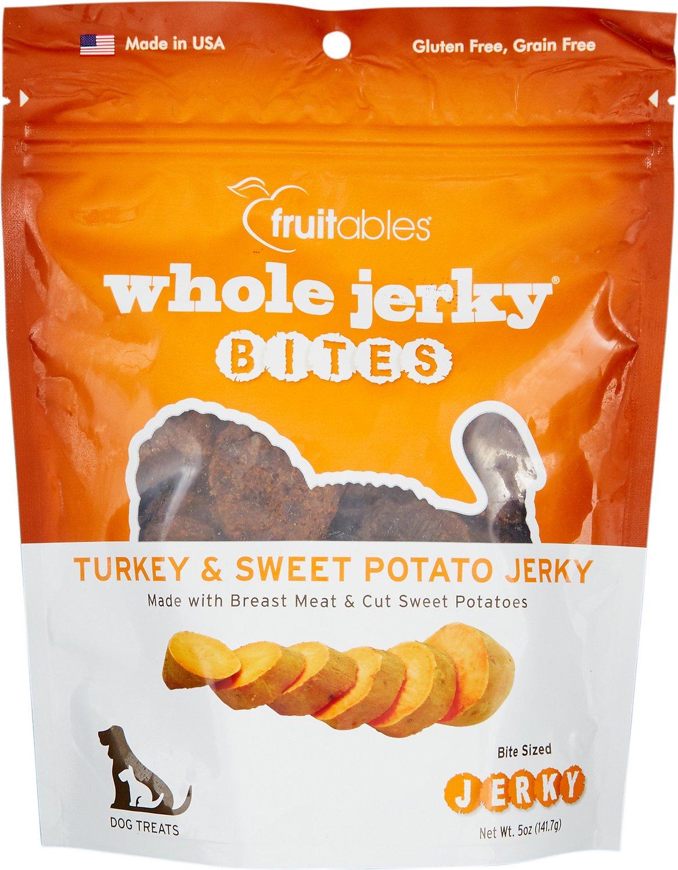Fruitables Whole Jerky Bites Turkey & Sweet Potato Dog Treats, 5-oz bag