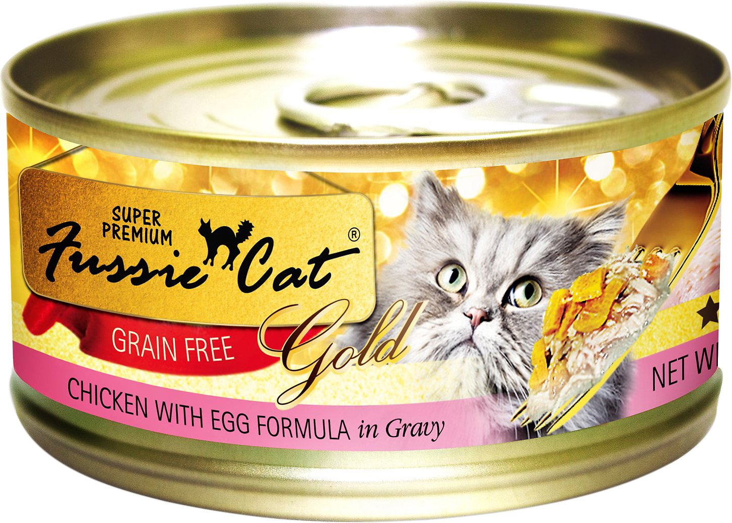 Fussie Cat Super Premium Chicken with Egg Formula in Gravy Grain-Free Canned Cat Food, 2.82-oz