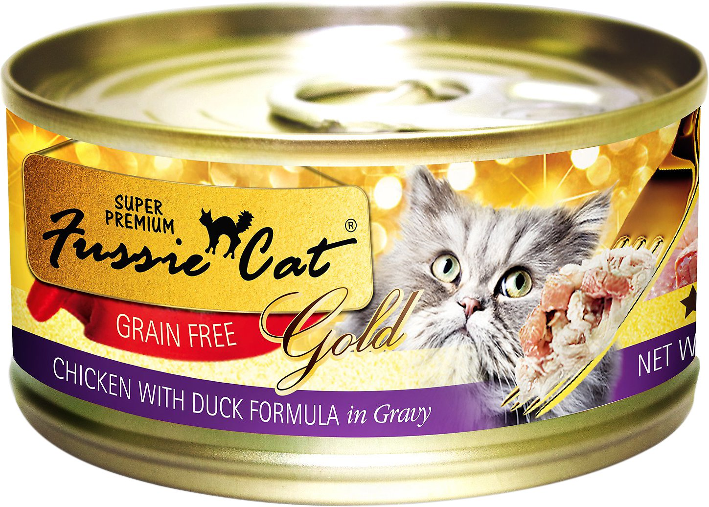 Fussie Cat Super Premium Chicken with Duck Formula in Gravy Grain-Free Canned Cat Food, 2.82-oz
