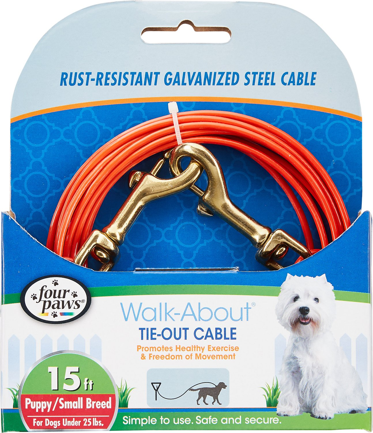 Four Paws Puppy Tie Out Cable, Orange, 15-ft