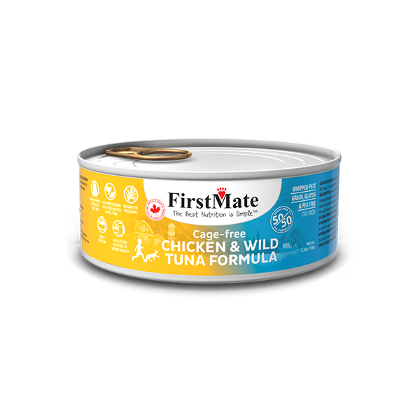 FirstMate 50/50 Chicken & Tuna Formula Grain-Free Canned Cat Food, 5.5-oz