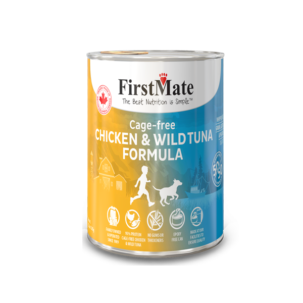 FirstMate 50/50 Chicken & Tuna Formula Grain-Free Canned Dog Food, 12.2-oz