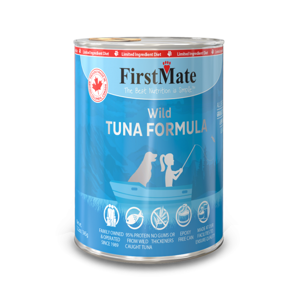 FirstMate Wild Tuna Formula Limited Ingredient Grain-Free Canned Dog Food, 12.2-oz