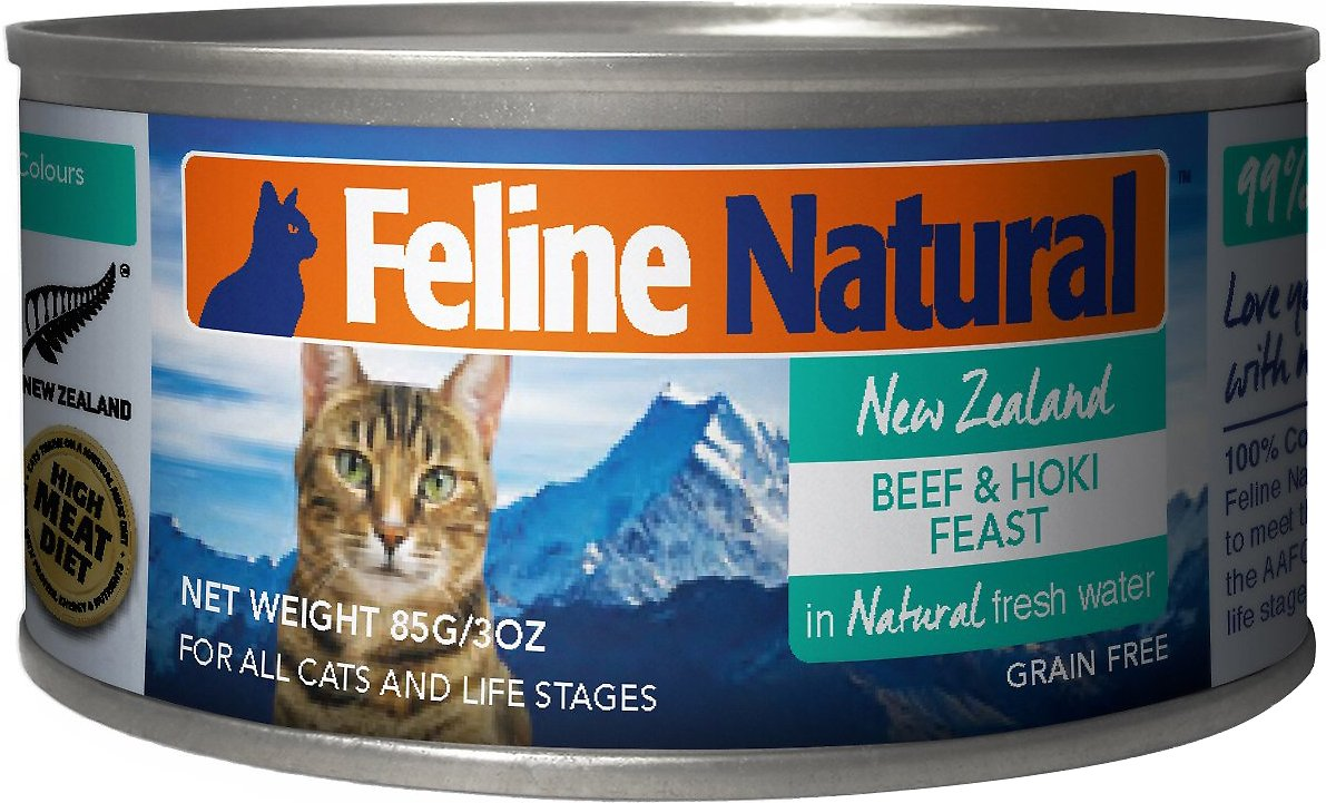 Feline Natural Beef & Hoki Feast Grain-Free Canned Cat Food, 3-oz