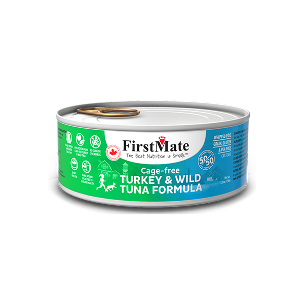FirstMate 50/50 Turkey & Tuna Formula Grain-Free Canned Cat Food, 5.5-oz