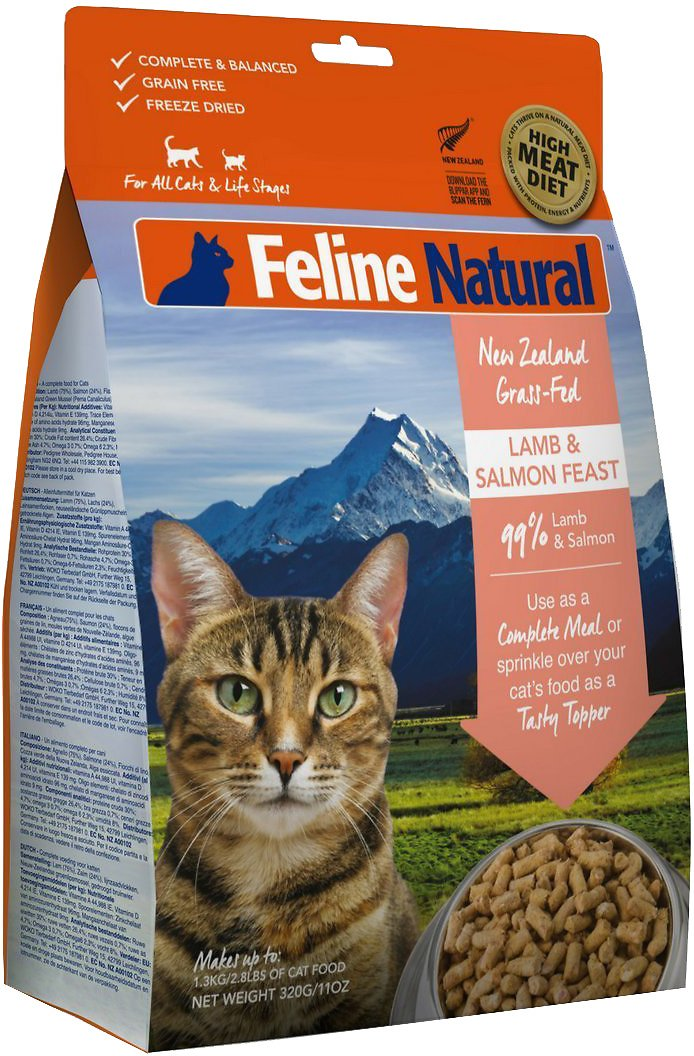Feline Natural Lamb & King Salmon Feast Grain-Free Freeze-Dried Cat Food & Topper, 11-oz bag