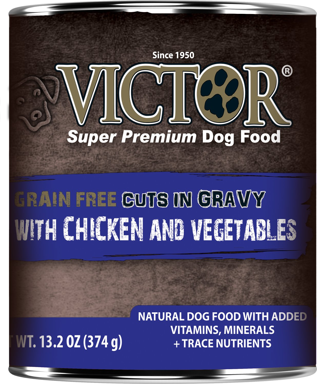 Victor Grain-Free Chicken & Vegetables Entree in Gravy Canned Dog Food, 13.2-oz, case of 12