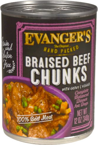 Evanger's Grain-Free Hand Packed Braised Beef Chunks with Gravy Canned Dog Food, 12-oz