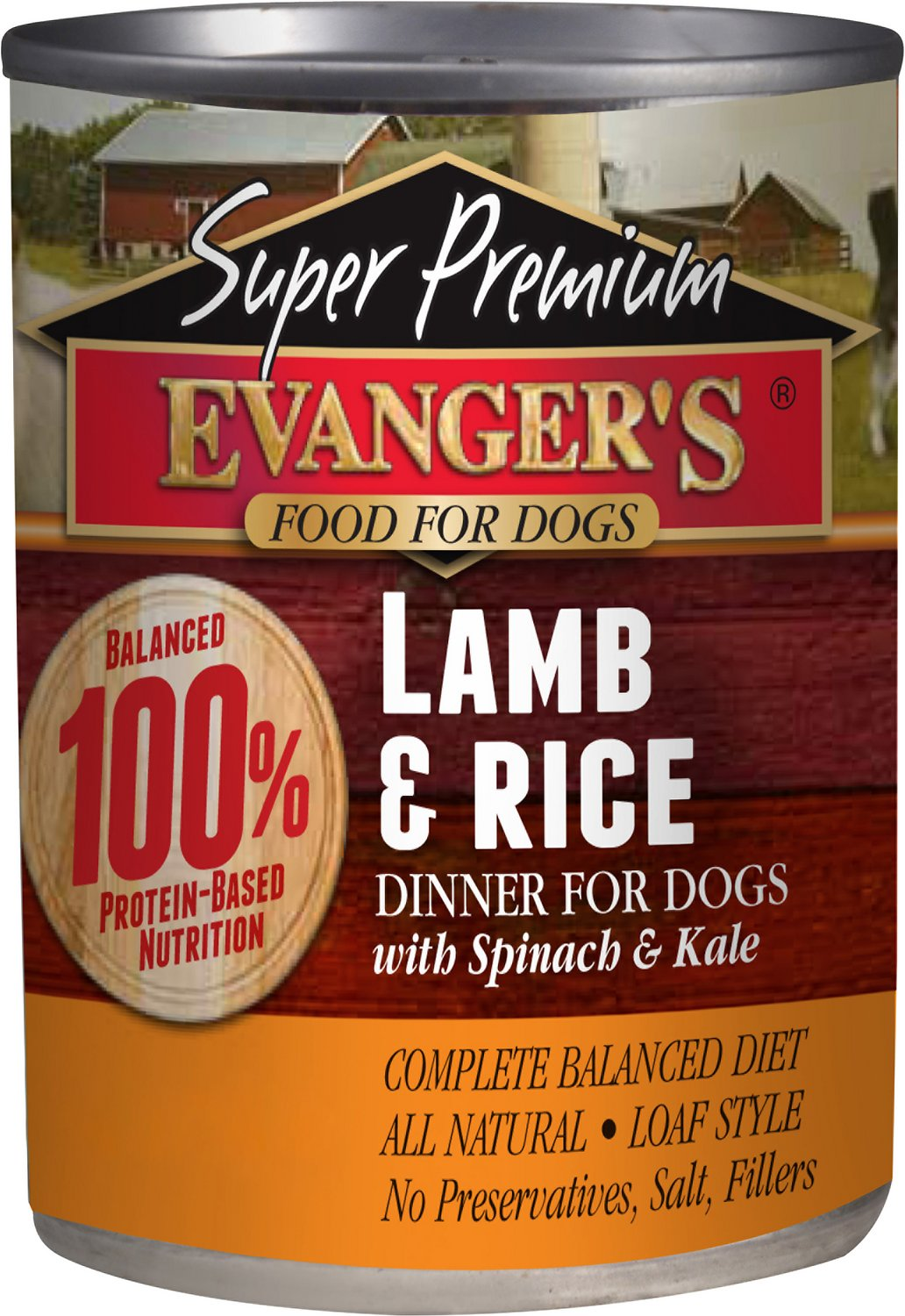 Evanger's Super Premium Lamb & Rice Dinner Canned Dog Food, 12.8-oz