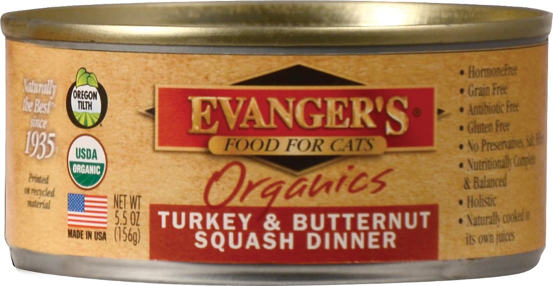 Evanger's Organics Turkey & Butternut Squash Dinner Canned Cat Food, 5.5-oz