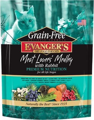Evanger's Grain-Free Meat Lover's Medley with Rabbit Dry Cat Food