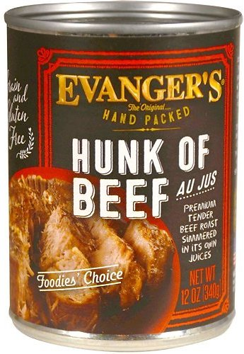 Evanger's Grain-Free Hand Packed Hunk of Beef Canned Dog Food, 12-oz