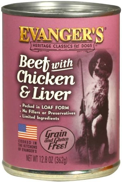 Evanger's Classic Recipes Beef with Chicken & Liver Grain-Free Canned Dog Food, 12.8-oz