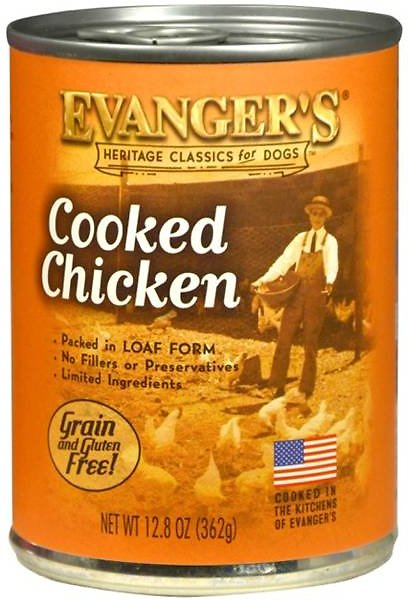 Evanger's Classic Recipes Cooked Chicken Grain-Free Canned Dog Food, 12.8-oz