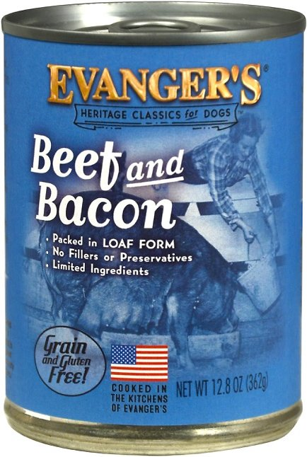 Evanger's Classic Recipes Beef & Bacon Grain-Free Canned Dog Food, 12.8-oz