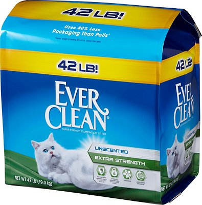 Ever Clean Extra Strength Unscented Premium Clumping Clay Cat Litter, 42-lb bag