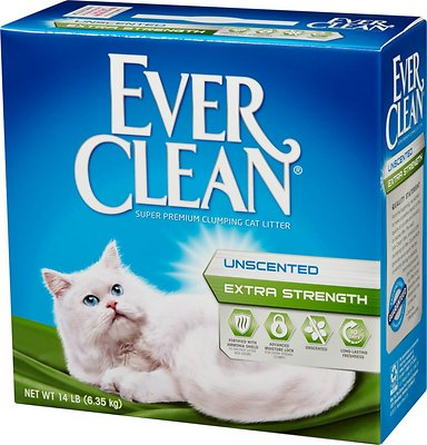 Ever Clean Extra Strength Unscented Premium Clumping Clay Cat Litter, 14-lb box