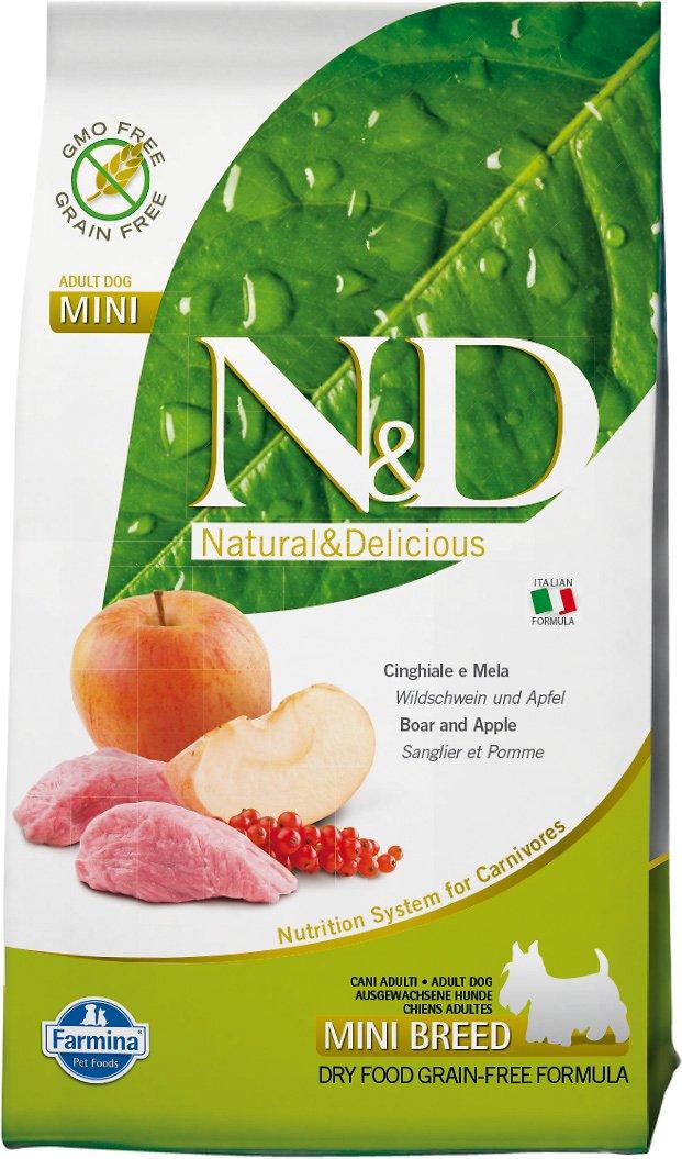 Farmina Natural & Delicious Wild Boar Grain-Free Mini Breed Formula Dry Dog Food, 5.5-lb bag