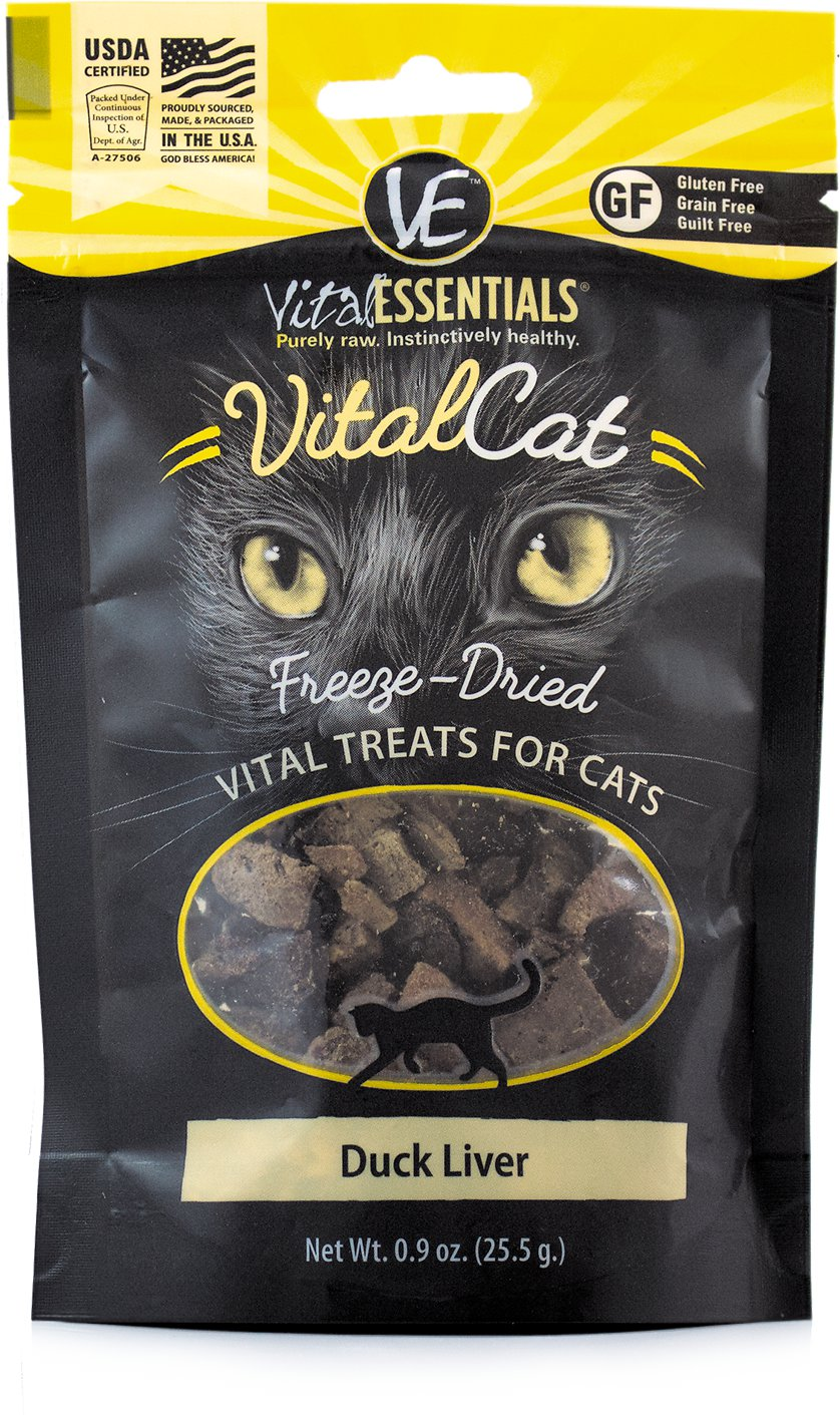 Vital Essentials Vital Cat Treats Duck Liver Freeze-Dried Cat Treats, 0.9-oz bag