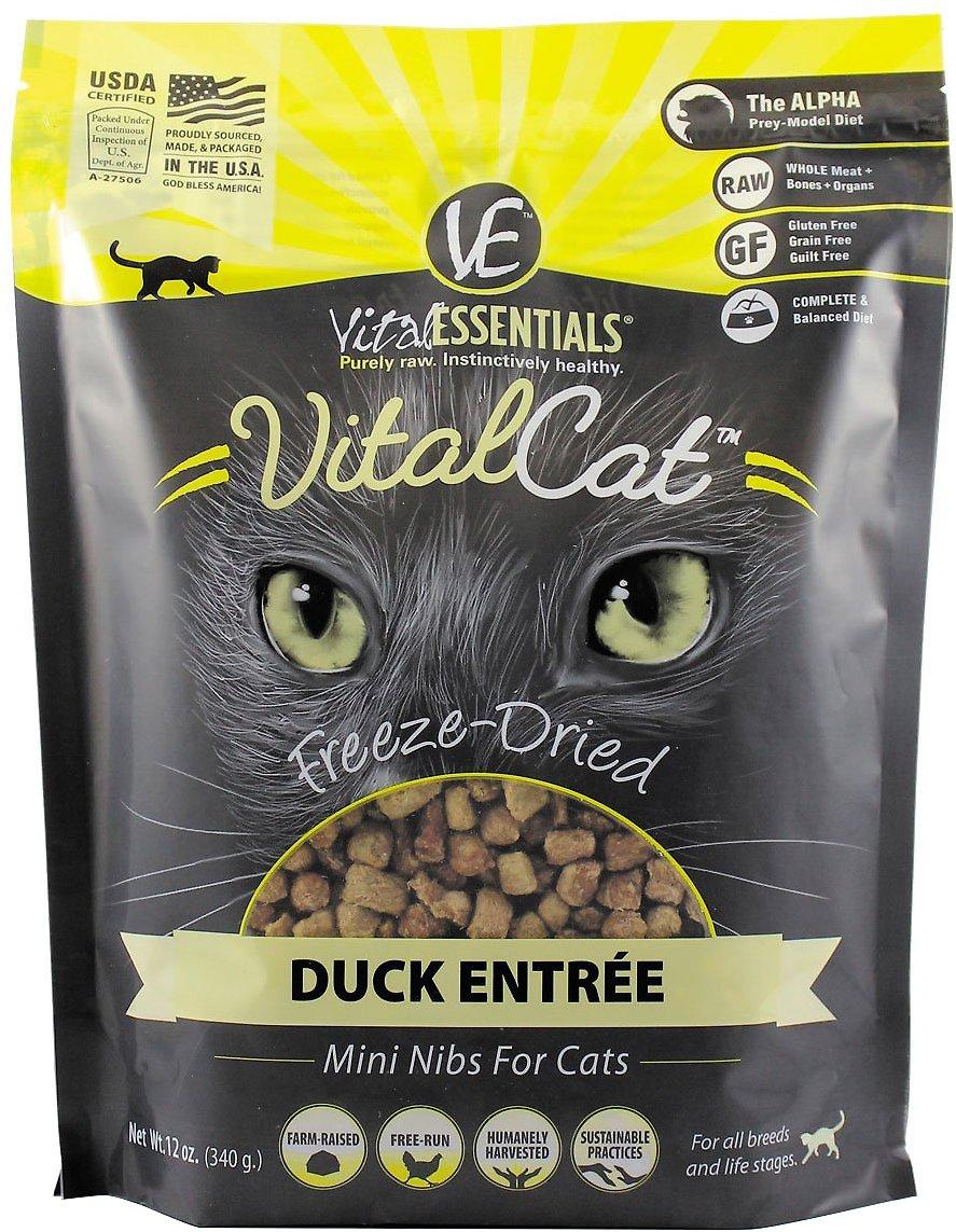 Vital Essentials Vital Cat Duck Mini Nibs Entree Freeze-Dried Cat Food, 12-oz bag