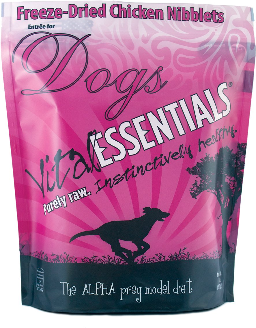 Vital Essentials Chicken Entree Nibblets Grain-Free Freeze-Dried Dog Food, 1-lb bag