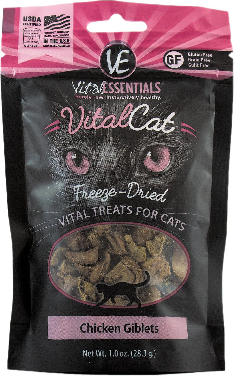 Vital Essentials Vital Cat Treats Chicken Giblets Freeze-Dried Cat Treats, 1-oz bag