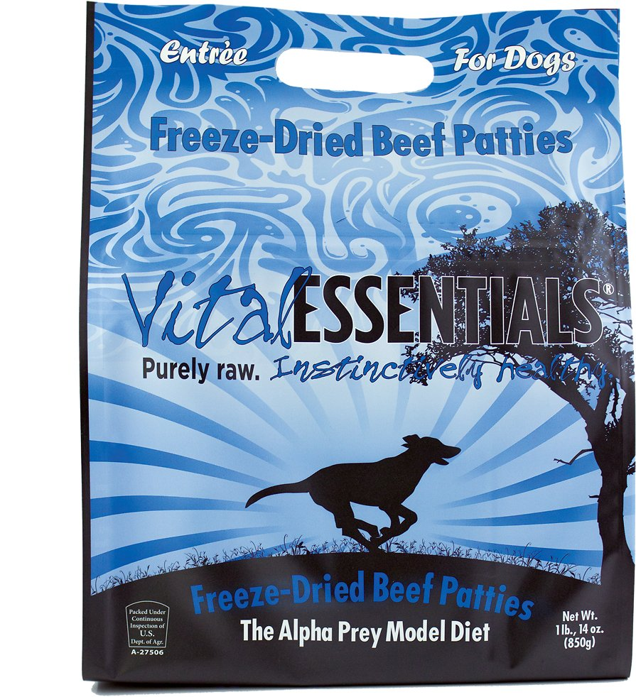 Vital Essentials Beef Entree Patties Grain-Free Freeze-Dried Dog Food, 1.875-lb bag