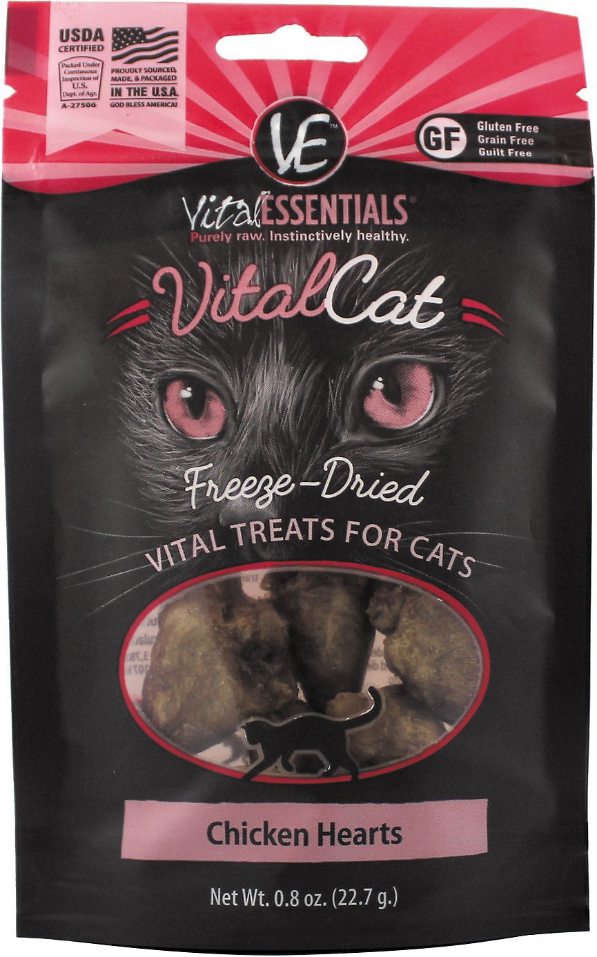 Vital Essentials Vital Cat Treats Chicken Hearts Freeze-Dried Cat Treats, 0.8-oz bag
