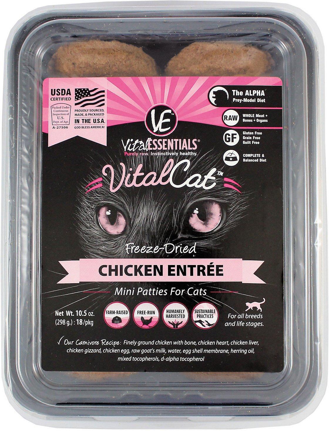 Vital Essentials Vital Cat Chicken Mini Patties Entree Freeze-Dried Cat Food, 10.5-oz tub