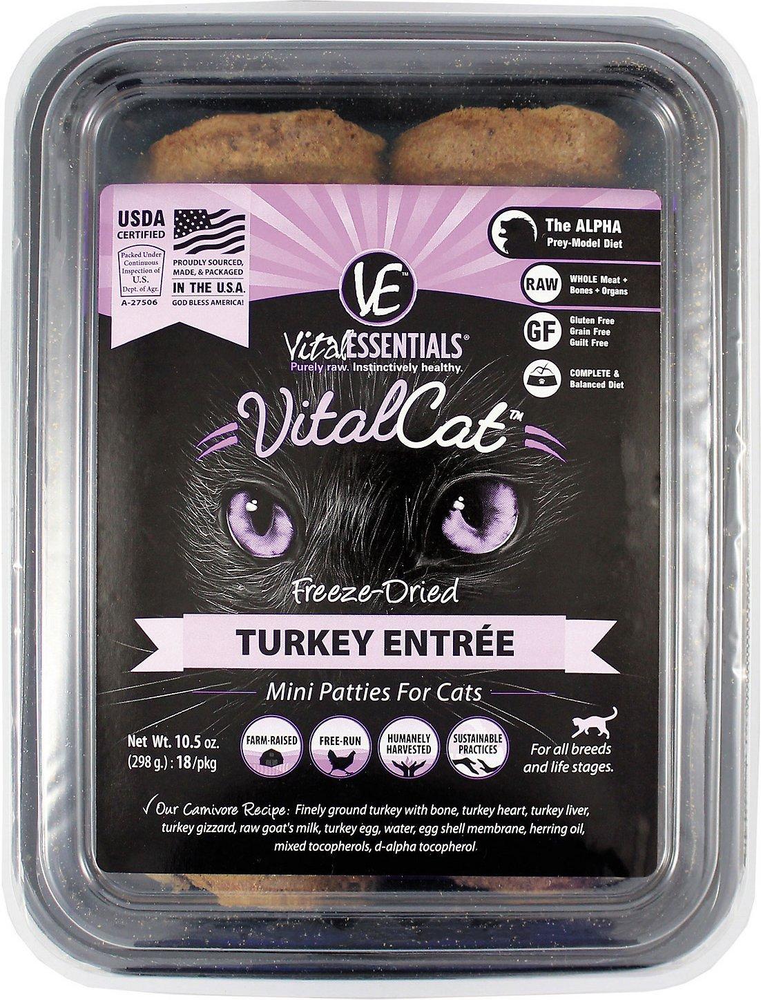 Vital Essentials Vital Cat Turkey Mini Patties Entree Freeze-Dried Cat Food, 10.5-oz tub