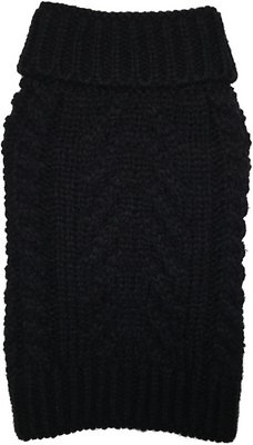 Fab Dog Super Chunky Turtleneck Dog Sweater, Black, 14-in